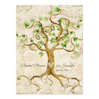 Strudel-Baum-Wurzeln Antiqued TAN-Brautparty Individuelle Einladungskarten