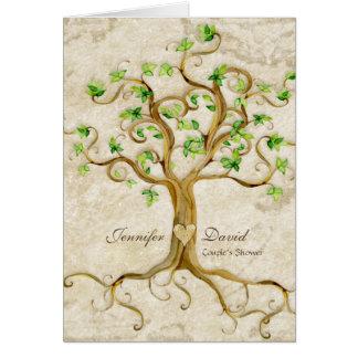 Strudel-Baum-Wurzeln Antiqued TAN-Paar-Dusche Grußkarte