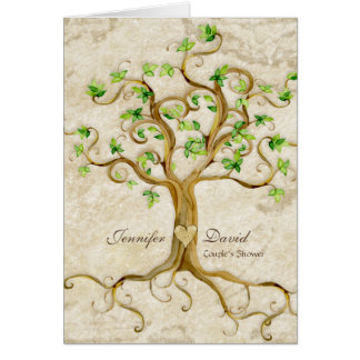 Strudel-Baum-Wurzeln Antiqued TAN-Paar-Dusche Karte