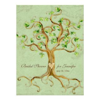Strudel-Baum-Wurzeln Antiqued weises Brautparty Individuelle Einladungskarte