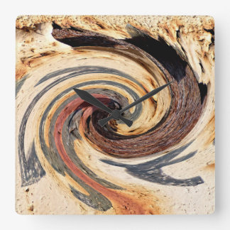 Strudel - Farben des Rosts/der Rost-Kunst Quadratische Wanduhr