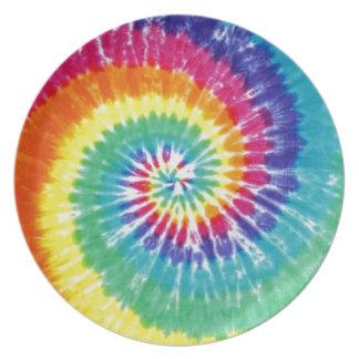 Strudel-Krawatten-Mehrfarbenregenbogen Teller