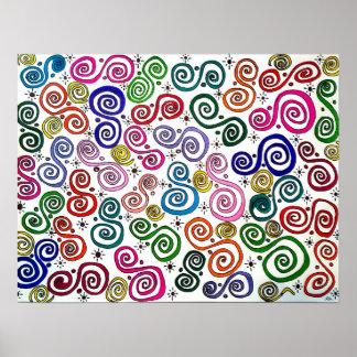 Strudel-Welt, abstraktes Zeichnen, Farben, Poster