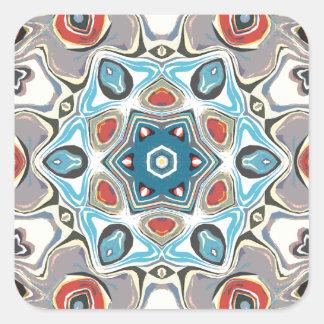 Strukturelles Kaleidoskop abstrakt Quadratischer Aufkleber
