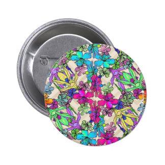 Strukturierte Blumen-Kunst Runder Button 5,1 Cm
