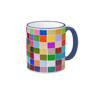 Strukturierte Farbquadrate Ringer Tasse