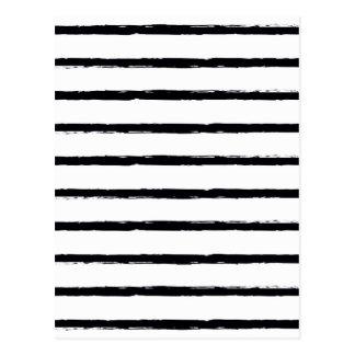 Strukturierte Streifen-Schwarz-weiße raue Linien Postkarte