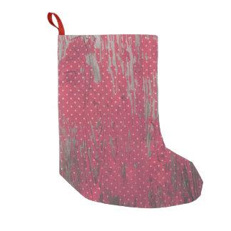Strumpfdekor des roten Punkts hölzerner rustikaler Kleiner Weihnachtsstrumpf
