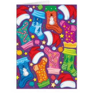 Strümpfe, Verzierungen und Weihnachtsmannmützen Karte