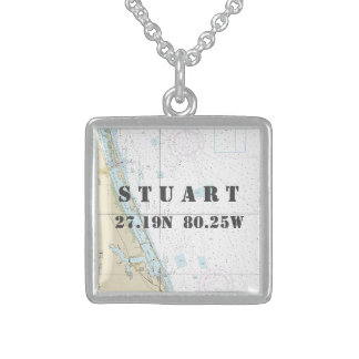 Stuart Florida-Zuhausestadtbreite-Länge nautisch Sterling Silberkette