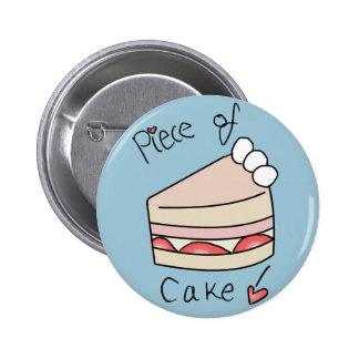 Stück des Kuchens - Blau Runder Button 5,7 Cm