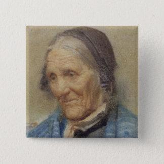 Studie einer alten Frau, 1912 (w/c auf Papier) Quadratischer Button 5,1 Cm