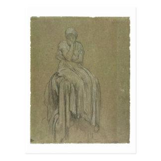 Studie für Einsamkeit, c.1890 (Kreide auf Papier) Postkarte