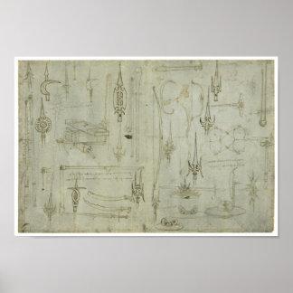 Studien der Waffen, Leonardo da Vinci Poster
