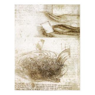 Studien des Wassers Hindernisse und fallende 150 f Postkarte