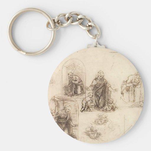 Studien für eine Geburt Christi durch Leonardo da Schlüsselbänder