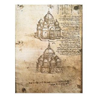 Studien LEONARDO Vinci- der zentralen Plan-Gebäude Postkarte