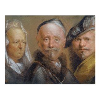 Studien von fünf Köpfen nach Rembrandt (Pastell Postkarte