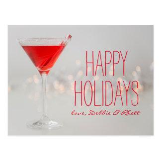 Studio schoss vom roten Cocktail in Martini-Glas Postkarte