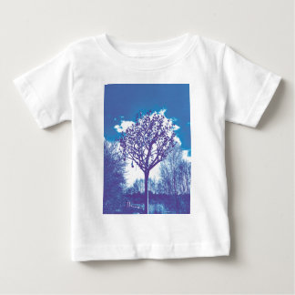 stumpfes Blau des Metallbaums Baby T-shirt