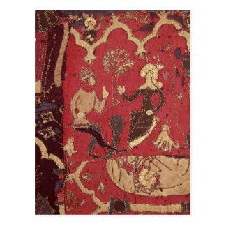 Stumpwork, das Tristan und Isolde darstellt Postkarte