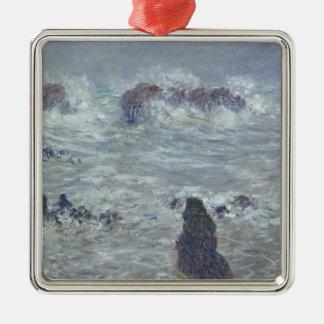Sturm Claude Monets  , vor der Küste des Belle-Ile Quadratisches Silberfarbenes Ornament