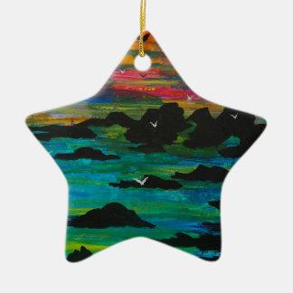 Sturm im Abstand Keramik Stern-Ornament