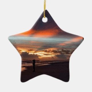Stürmischer Sonnenuntergang Keramik Stern-Ornament