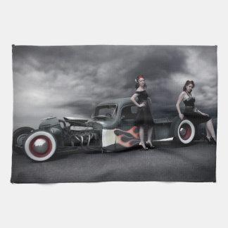 Stürmisches Nachtratten-Rod-Lieferwagen-LKW-Button Handtuch