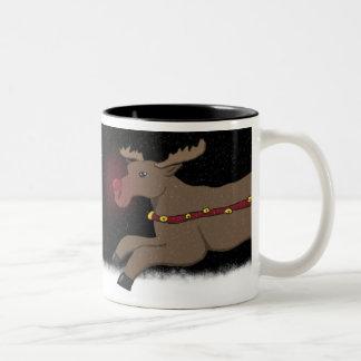 Stürzen durch die Schnee-Rudolph-Tasse Zweifarbige Tasse
