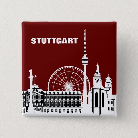 Stuttgar Stadt Skyline - Button / Anstecker / Pin