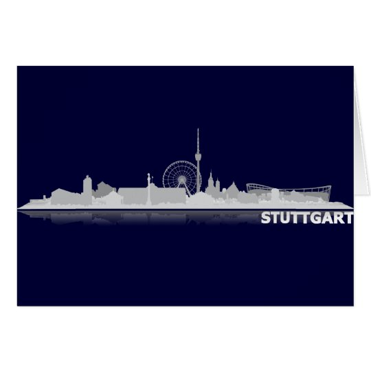 Stuttgart Stadt Skyline - Postkarte / Klappkarte