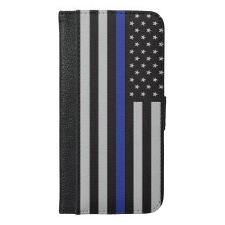 Stützen Sie den Polizei-dünnen Blue iPhone 6/6s Plus Geldbeutel Hülle