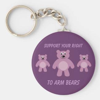 Stützen Sie Ihr Recht, die lila Bären zu bewaffnen Standard Runder Schlüsselanhänger