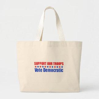 Stützen Sie unsere Truppen - die demokratische Jumbo Stoffbeutel