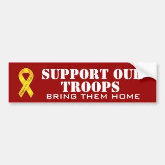 Stützen Sie unsere Truppen - gelbes Band Autoaufkleber