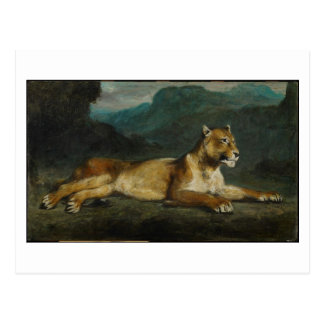 Stützende Löwin, c.1855 (Öl auf Platte) Postkarte