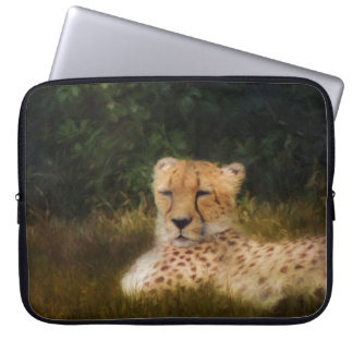 Stützender Gepard in der versteinerten Laptopschutzhülle