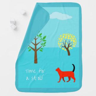StylishTurquoise Baby-Decke mit einer Katze Puckdecke