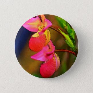 Stylized Phragmipedium-Orchideen-Blumen-Duo Runder Button 5,1 Cm