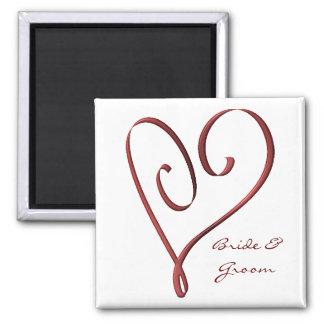 Stylized rote Herz-Gastgeschenk Hochzeit KRW Quadratischer Magnet