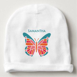 Stylized Schmetterlings-Name-Baby Beanie Babymütze