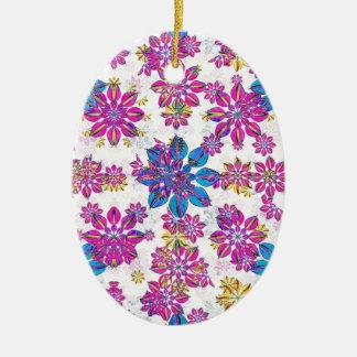 Stylized verziertes mit Blumenmuster Ovales Keramik Ornament