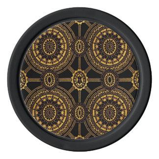 Stylized Vintages Blumen im Schwarzen und im Gold Poker Chip Set