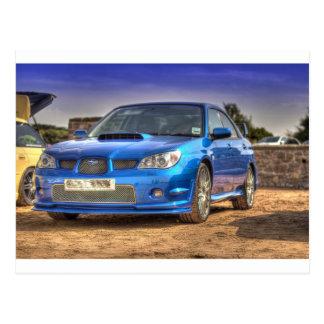 "Subaru Impreza WTI ""Hawkeye"" im Blau Postkarte"