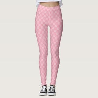 Subtile zwei tonten rosa Schachbrett Leggings
