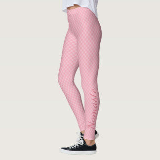 Subtile zwei tonten rosa Schachbrett mit Namaste Leggings