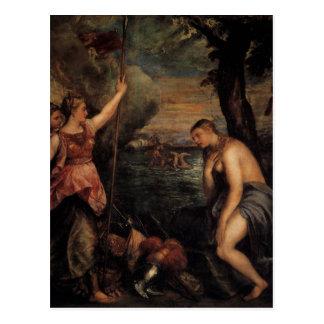 Succouring Religion Spaniens durch Titian Postkarte