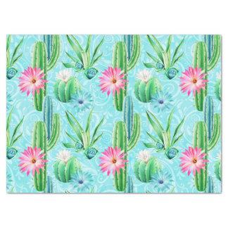 Succulent blaues Grün des Kaktus-Blumenrosas Seidenpapier