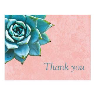 Succulent danken Ihnen Aquarell-rosa Spitze Postkarte